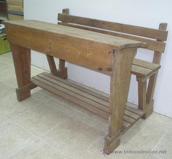 antiguo banco pupitre escuela madera pinotea - Comprar Mesas de ...