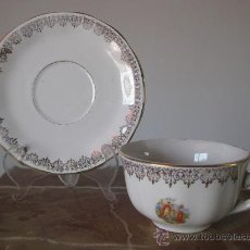 Antigüedades: TAZA Y PLATO DE COLECCION CON ESCENA ROMANTICA. Lote 17889559