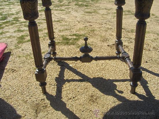 Antigüedades: Mesa - consola- Madera tallada - Marmol original en blanco, partido y pegado 105 X 56 cm. altura 81 - Foto 2 - 26573274