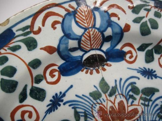 Antigüedades: PRECIOSO PLATO DEL SG.XVII - XVIII. MIDE 31 CM.CERAMICA DE DELFT HOLANDA, VER FOTOS - Foto 6 - 17916923