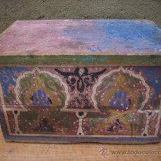 Antigüedades: BAÚL DE MADERA PINTADO. Lote 17934299