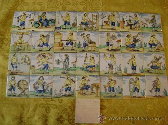 29 LADRILLOS DE OFICIOS, 7,5 X 7,5CTMS (Antigüedades - Porcelanas y Cerámicas - Azulejos)