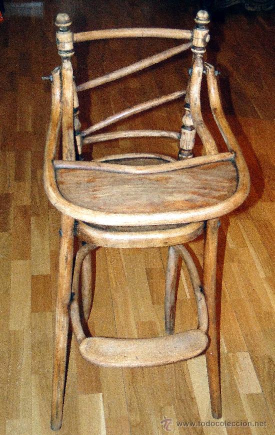 Antigüedades: antigua trona o silla de niño, fuerte, sin gota de carcoma, limpia y encerada, Coleccion. - Foto 2 - 26810796