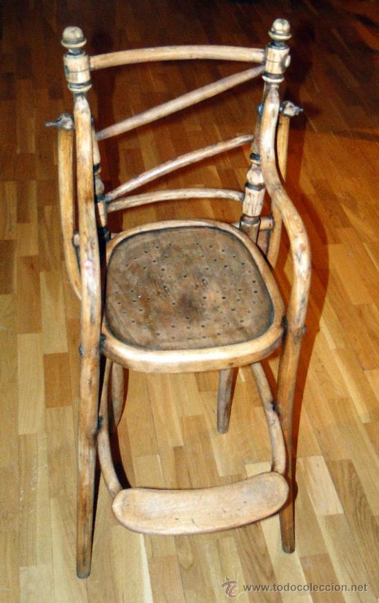 Antigüedades: antigua trona o silla de niño, fuerte, sin gota de carcoma, limpia y encerada, Coleccion. - Foto 3 - 26810796