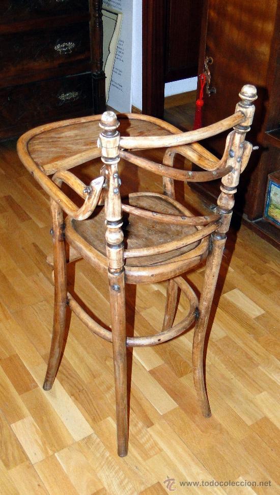 Antigüedades: antigua trona o silla de niño, fuerte, sin gota de carcoma, limpia y encerada, Coleccion. - Foto 4 - 26810796