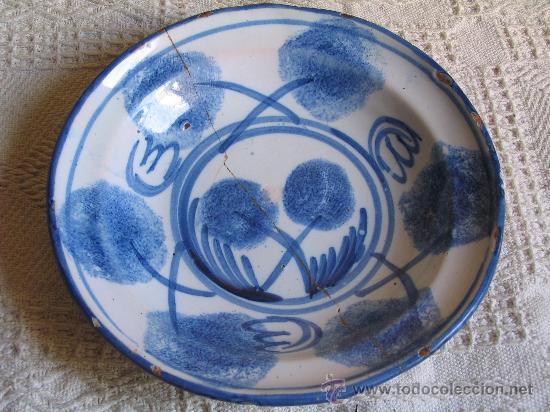 PLATO CERAMICA CON TECNICA ESPONJADO (NO JASPEADO) RIBESALBES (CASTELLON) S, XIX (Antigüedades - Porcelanas y Cerámicas - Ribesalbes)