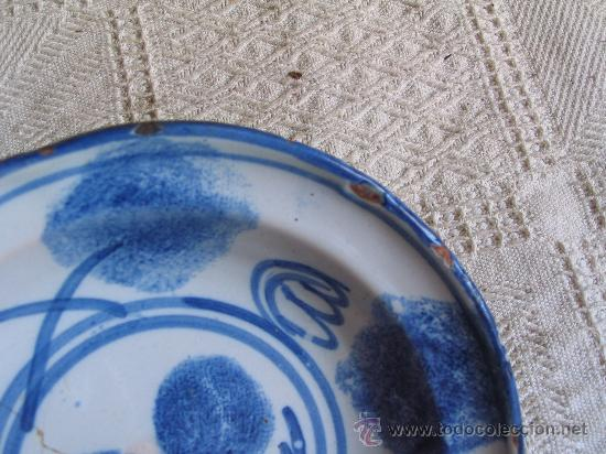 Antigüedades: Plato ceramica con tecnica esponjado (no jaspeado) Ribesalbes (Castellon) S, XIX - Foto 3 - 27468123