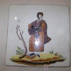 Antigüedades: AZULEJO DE FIGURA VALENCIANO DEL SIGLO XIX .. Lote 18279498