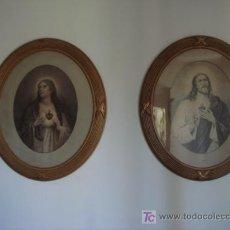Antigüedades: ANTIGUA PAREJA DE CUADROS CON MARCO DE MADERA -ALTO 72 X ANCHO 62 CM. Lote 27443996