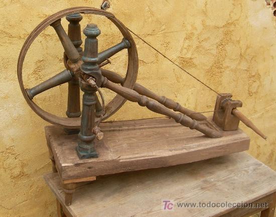 Rueca o torno de hilar de madera torneada antig comprar for Que es la veta de la madera