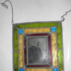 Antigüedades: MARCO VIDREO CRISTAL EMPLOMADO ANTIGUO CON FOTO. Lote 18336489