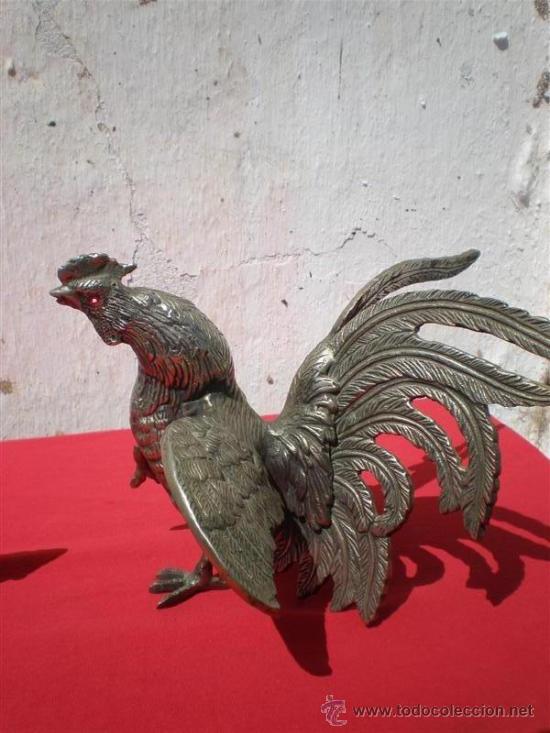Antigüedades: pareja de gallos de bronce - Foto 2 - 18378212
