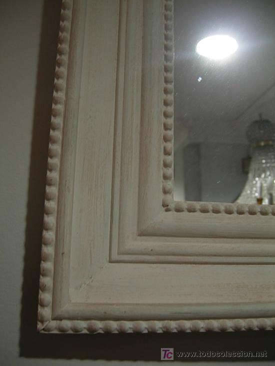 Antigüedades: ESPEJO BLANCO EN DECAPE CON UN FINO CORDON EN LOS CANTOS - Foto 4 - 27330046