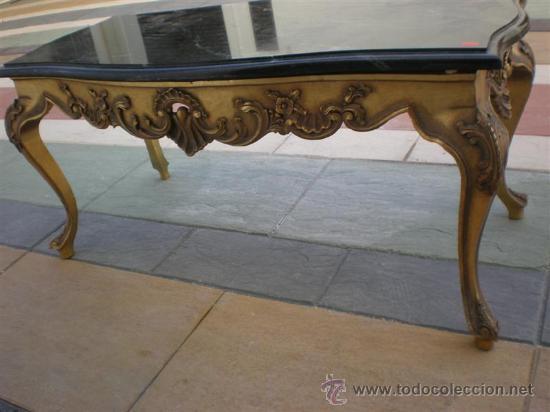 Mesa de centro de madera dorada y marmol negro comprar for Mesas de centro antiguas