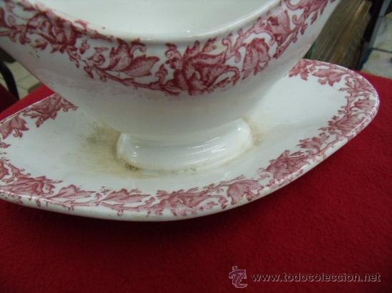 Antigüedades: Antigua y bonita salsera de porcelana del siglo XIX - Foto 2 - 24838542