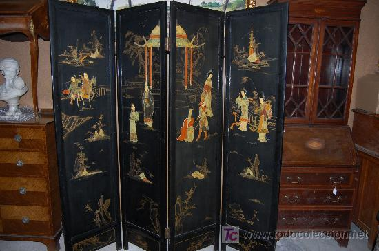 Biombo chino lacado con formas en piedras duras vendido en venta directa 18624984 - Biombos chinos antiguos ...
