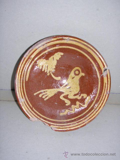 CERAMICA POPULAR CATALANA DE VOLTA,S.XVIII-ESCUDILLA PAJARO,14,5 CM. 5,5 CM. ALTURA,VER FOTOS- (Antigüedades - Porcelanas y Cerámicas - Catalana)