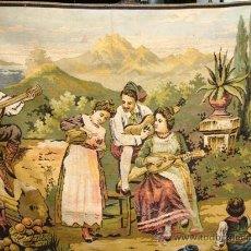 Antigüedades: ANTIGUO TAPIZ CON MOTIVO COSTUMBRISTA. Lote 26542802