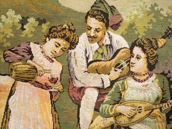 Antigüedades: ANTIGUO TAPIZ CON MOTIVO COSTUMBRISTA - Foto 3 - 26542802
