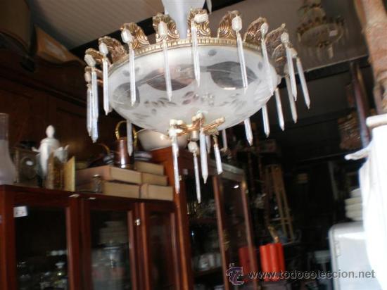 Antigüedades: lampara de bronce y cristales - Foto 2 - 18975436