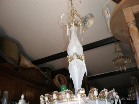 Antigüedades: lampara de bronce y cristales - Foto 3 - 18975436