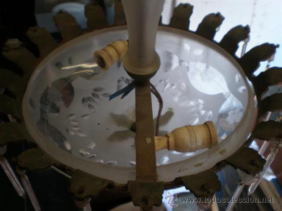 Antigüedades: lampara de bronce y cristales - Foto 5 - 18975436