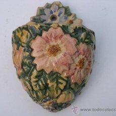 Antigüedades: JARDINERA FLORAL CERAMICA CELTA VIDRIADA DE PARED- PUENTECESURES PONTECESURES-APROX 1925 PERFECTA. Lote 23739960