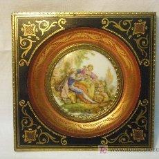 Antigüedades: PLACA DE PORCELANA OLLETSAC CON CROMO DE LIMOGES. Lote 26641057