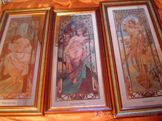 tres bonitos espejos diseo vitral art nouveau alphonse mucha firma mucha