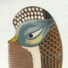 Antigüedades: ANTIGUO PEINE DE MADERA CON AVE TROPICAL PINTADA A MANO,AÑOS 30 Ó 40,MADE IN CHINA. Lote 19295885