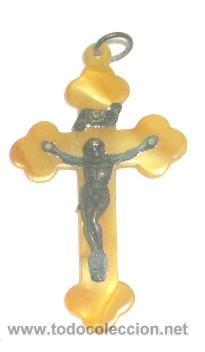 CRUCIFIJO EN PLATA Y CAREY,PRINCIPIO DEL S.XX (Antigüedades - Religiosas - Crucifijos Antiguos)