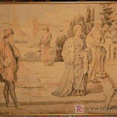 Antigüedades: PRECIOSO TAPIZ MECANICO. ESCENA GALANTE. ANTIGUO. EMMARCADO Y MUY GRANDE.. Lote 23498114