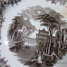 Antigüedades: PLATO PICKMAN COLOR MARRÓN. SIGLO XIX. 20 CM. PRECIOSO.. Lote 26198848