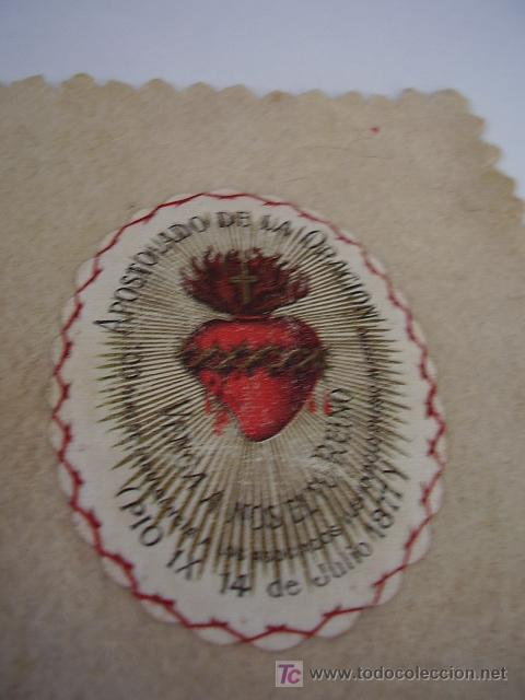 ESCAPULARIO APOSTOLADO DE LA ORACIÓN, PIO IX 14 JULIO DE 1877 (Antigüedades - Religiosas - Escapularios Antiguos)