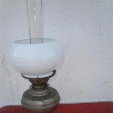 Antigüedades: LAMPARA DE PETROLEO PLATEADA. Lote 19510787