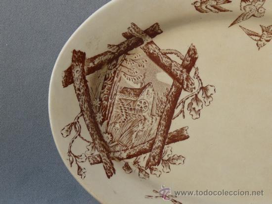 Antigüedades: Antigua bandeja siglo XIX - Dibujo utilizado por Cartagena, San Claudio y otros. - Foto 2 - 24174191