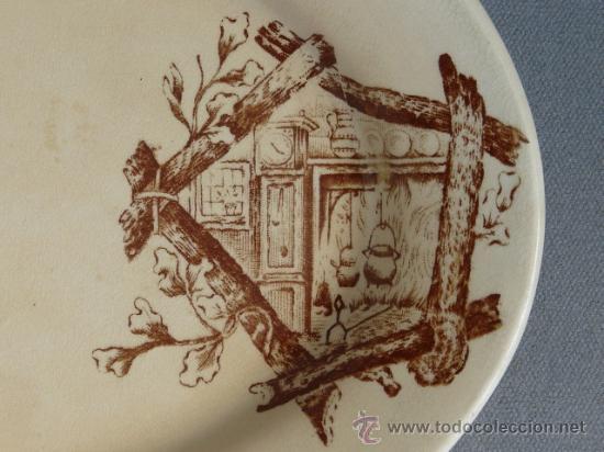 Antigüedades: Antigua bandeja siglo XIX - Dibujo utilizado por Cartagena, San Claudio y otros. - Foto 3 - 24174191