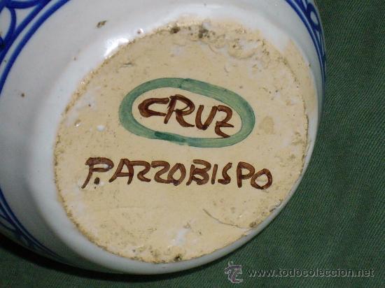Antigüedades: JARRA DE CERAMICA PUENTE DEL ARZOBISPO- FIRMADA CRUZ - Foto 3 - 27225036