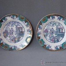 Antigüedades: PAREJA DE PLATOS DE CERAMICA EUROPEA.. Lote 24174192