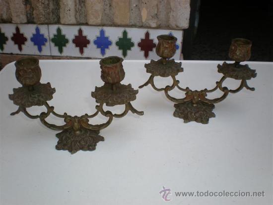 PAREJA DE CANDELABROS DE BRONCE ANTIGUOS (Antigüedades - Iluminación - Candelabros Antiguos)