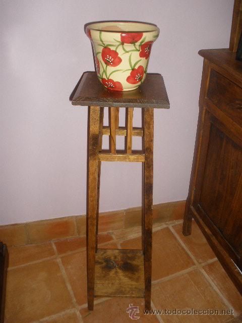 MACETERO DE PINO BASE CUADRADA (Antigüedades - Muebles Antiguos - Auxiliares Antiguos)