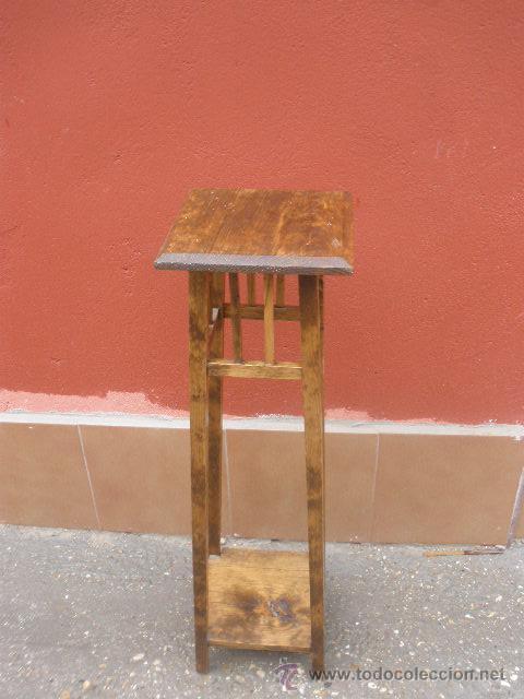 Antigüedades: MACETERO DE PINO BASE CUADRADA - Foto 2 - 26317437