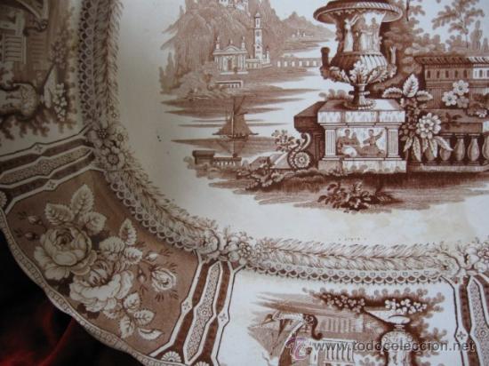 Antigüedades: ENORME FUENTE DE LA REAL FABRICA DE SARGADELOS 3ª EPOCA, SG.XIX. LOZA FINA DE PEDERNAL, PERFECTA. - Foto 3 - 26673489