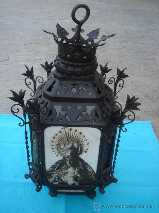 FAROL ANTIGÜO DE FORJA -S. XVIII-, ESTILO RENACIMIENTO. DIM.- 55X29X29 CMS. (Antigüedades - Iluminación - Faroles Antiguos)