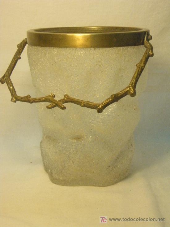 CUBO DE CRISTAL EFECTO DE HIELO (Antigüedades - Cristal y Vidrio - Otros)