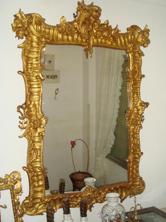 Espejo dorado comprar espejos antiguos en todocoleccion for Espejos de pie precios