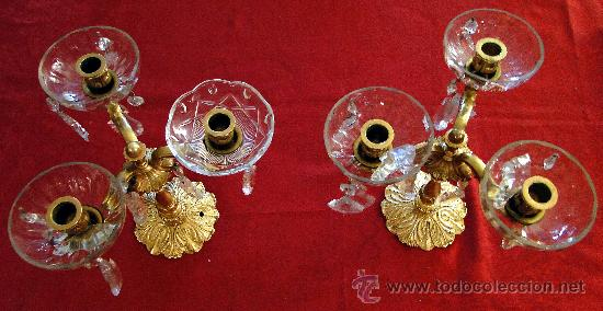 SOBERBIOS CANDELABROS DE BRONCE Y CRISTAL. (Antigüedades - Iluminación - Candelabros Antiguos)