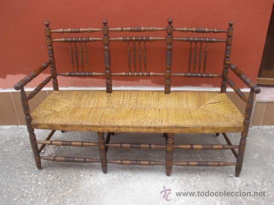 Banco de madera torneado asiento de enea comprar - Sillas de madera antiguas ...