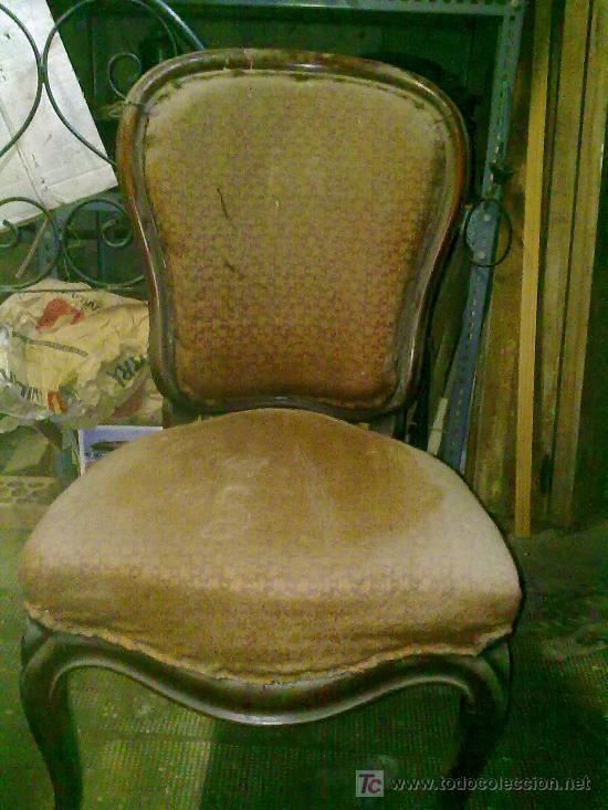 Antigüedades: Lote de 4 sillas isabelinas - Foto 3 - 27570763