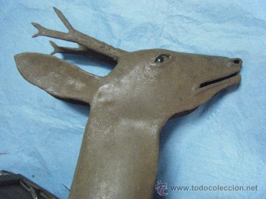 Antigüedades: CABEZA BUSTO CIERVO, ANTIGUO-ANTIGUA ESCULTURA DE CHAPA O FORJA - Foto 8 - 26572625